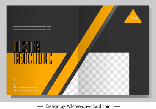 brochure template dark plain checkered yellow striped decor