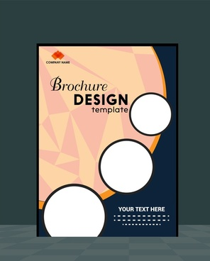 brochure template design combining circles on abstract background
