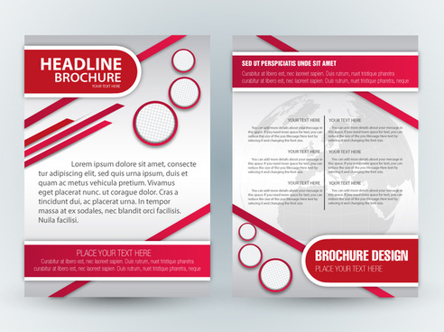 brochure template design with cirles and diagonal illustration