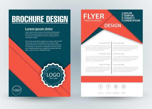 brochure template design with diagonal illustration