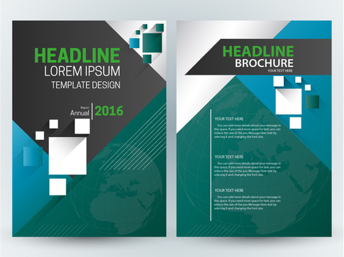 brochure template design with globe vignette illustration