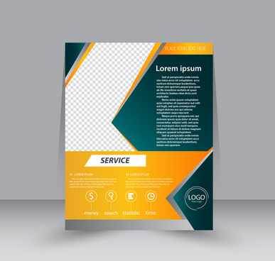 brochure template design with modern checkered background