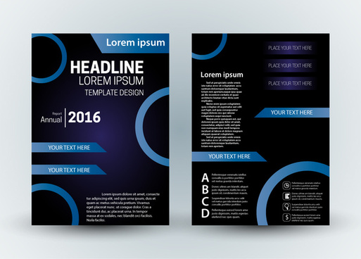 brochure template design with modern dark background