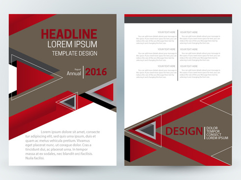 brochure template design with modern style with triangles