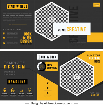 brochure template elegant dark trifold design