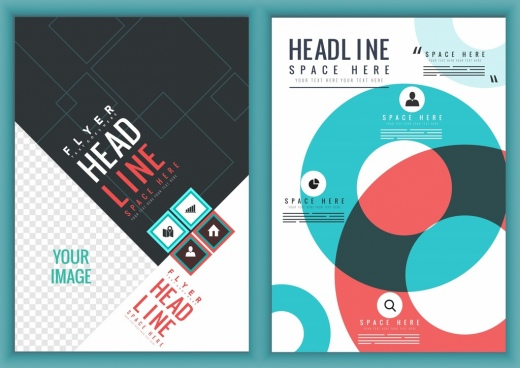 brochure template geometric checkered design