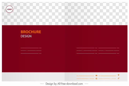 brochure template horizontal design red white checkered decor