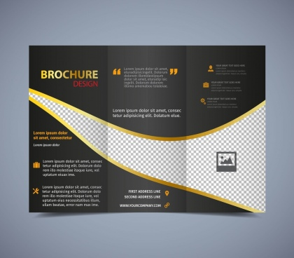 brochure template trifold dark checkered design