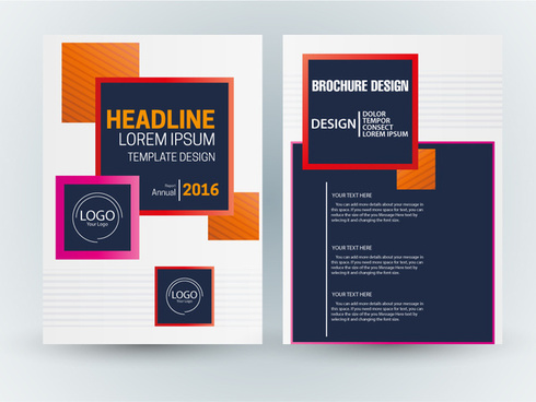 brochure template vector design with colorful squares illustration