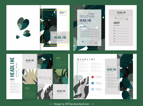 brochure templates classic green leaves decor