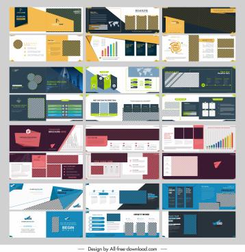 brochure templates collection modern horizontal checkered decor