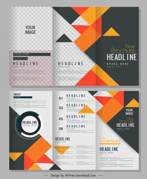 brochure templates colorful geometric decor trifold design