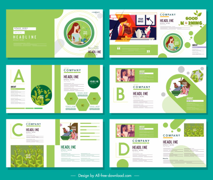 brochure templates healthy life theme bright green white