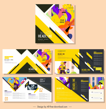 brochure templates human activities sketch colorful classic design