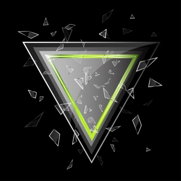 broken glass background shiny grey triangle dark design