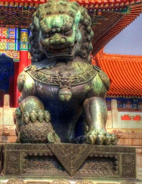 bronze lion statue in beijing china