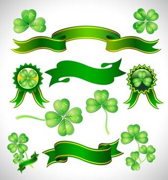 ecology banner design elements green leaf ribbon badge