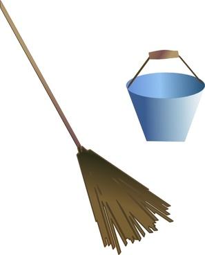 Broom Bucket clip art
