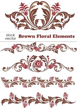 brown floral design elements vector borders