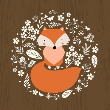 brown fox background white leaves decoration circle design