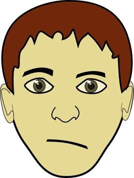 Brown Hair Boy Face clip art