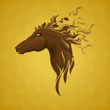 brown head horse cool illustration vector
