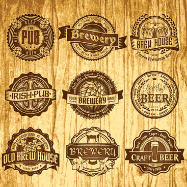 brown retro beer labels vector