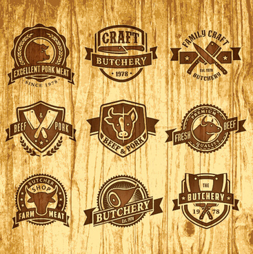 brown retro butchery labels vector