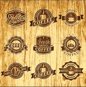 brown retro coffee labels vector