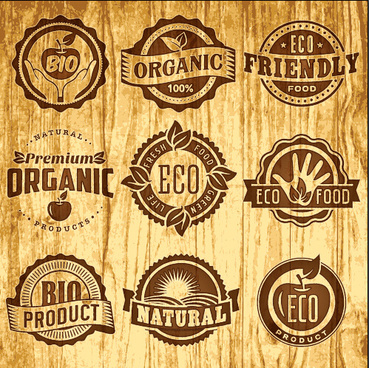 brown retro eco food labels vector