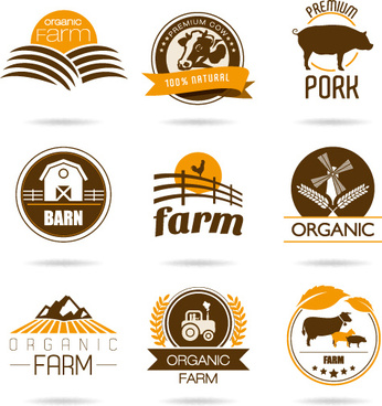 brown style farm labels and logos vector