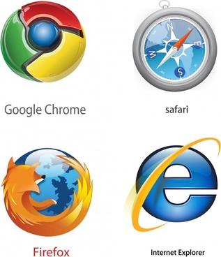 browser logotypes modern colorful circle shapes
