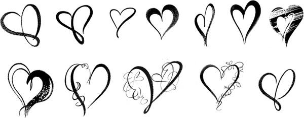 brush hearts