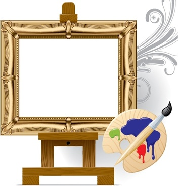 painting work background photo frame brush tray icons