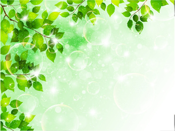 bubble and tree leaves vector background