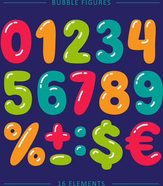 bubble numbers and symbols cartoon vector
