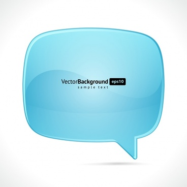 speech bubble template modern shiny bright blue sketch