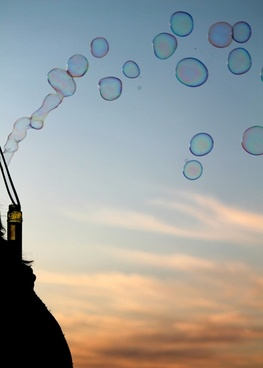 bubbles sky sunset
