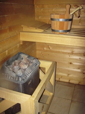 bucket in hot sauna