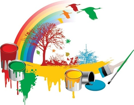 bucket tree geese vector rainbow