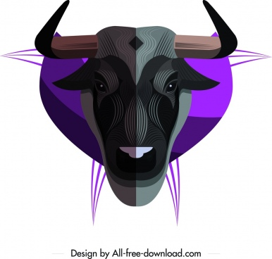 buffalo animal icon colored head decor