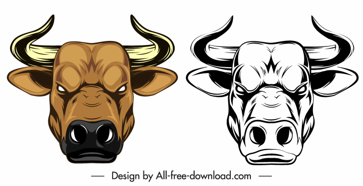 buffalo head icon colored black white sketch
