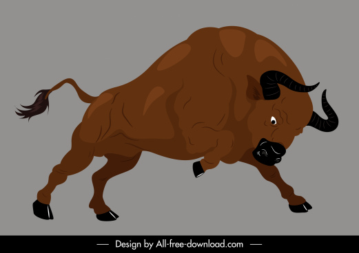 buffalo icon powerful attack gesture handdrawn cartoon sketch