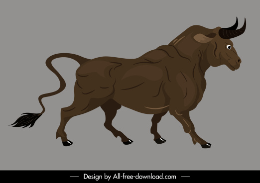 buffalo icon powerful design cartoon sketch