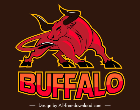 buffalo logo template black red handdrawn sketch