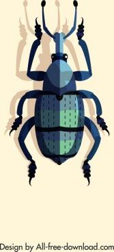 bug insect icon dark blue 3d design