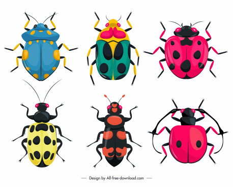 bugs creatures icons colorful flat symmetric design