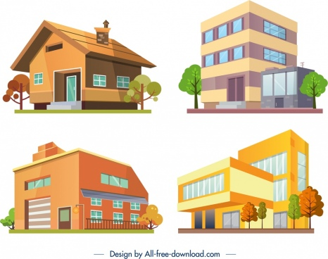 building architecture icons colored modern 3d design