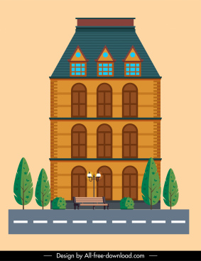 building architecture template colored flat sketch classical design