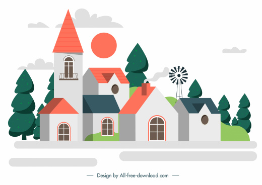 building architecture template colorful classic sketch